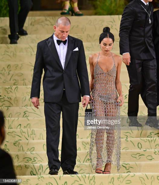 Channing Tatum and Zoe Kravitz leave the 2021 Met Gala Celebrating In America: A Lexicon Of Fashion at Metropolitan Museum of Art on September 13,...