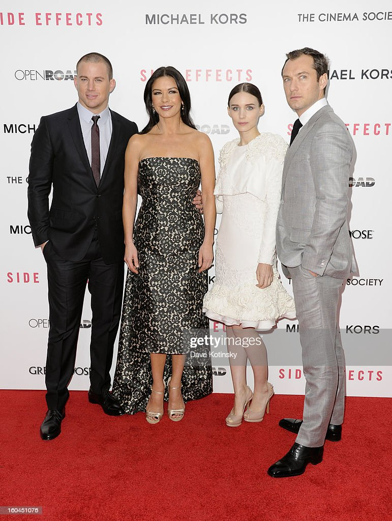 Channing Tatum, Catherine Zeta-Jones, Rooney Mara and Jude Law attend the premiere of 'Side Effects' hosted by Open Road with The Cinema Society and Michael Kors at AMC Lincoln Square Theater on January 31, 2013 in New York City.