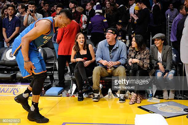 Channing Tatum Jenna Dewan and Emmanuelle Chriqui attend a basketball game between the Oklahoma City Thunder and the Los Angeles Lakers at Staples...