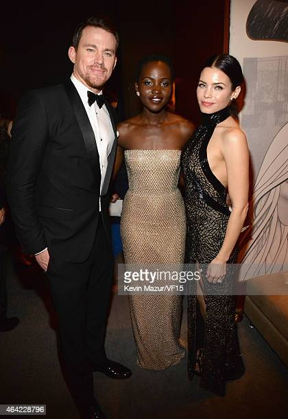 Channing Tatum Lupita Nyong'o and Jenna Lee DewanTatum attend the 2015 Vanity Fair Oscar Party hosted by Graydon Carter at the Wallis Annenberg...