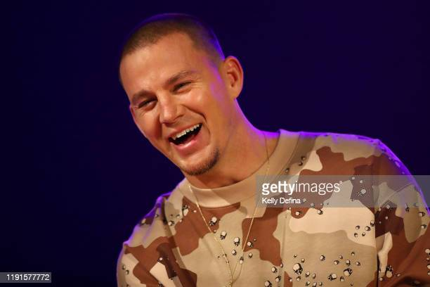 Channing Tatum reacts during a media call on December 03 2019 in Melbourne Australia