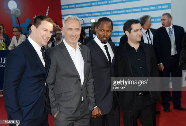 Channing Tatum Roland Emmerich Jamie Foxx and Brad Fischer attend the 'White House Down' Premiere at The 39th Deauville Film Festival at the CID on...
