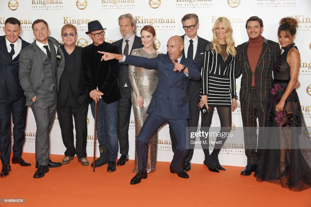 Channing Tatum, Taron Egerton, Sir Elton John, director Matthew Vaughn, Jeff Bridges, Julianne Moore, Mark Strong, Colin Firth, Claudia Schiffer, Pedro Pascal and Halle Berry attend the World Premiere of 'Kingsman: The Golden Circle' at Odeon Leicester Square on September 18, 2017 in London, England.