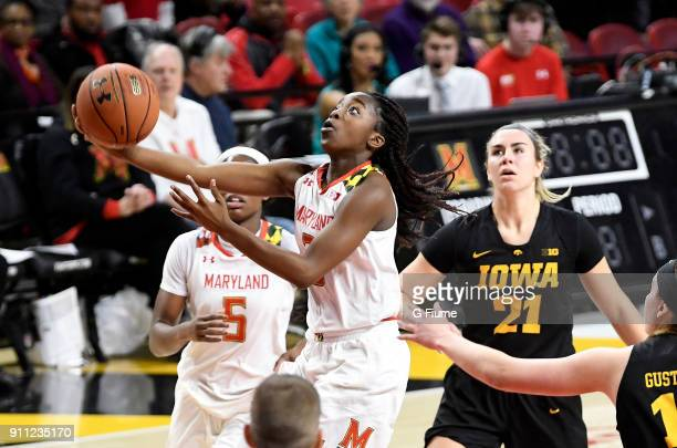 Channise Lewis of the Maryland Terrapins drives to the hoop against the Iowa Hawkeyes at Xfinity Center on January 4 2018 in College Park Maryland
