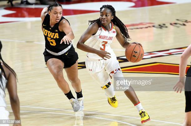 Channise Lewis of the Maryland Terrapins handles the ball against the Iowa Hawkeyes at Xfinity Center on January 4 2018 in College Park Maryland