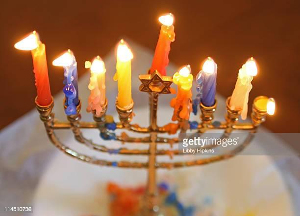 Channukiah menorah candles at channukah