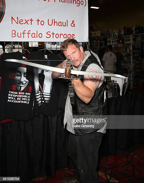 Chanon Allen dressed as Daryl Dixon from 'The Walking Dead' television franchise attends the Amazing Las Vegas Comic Con at the South Point Hotel...