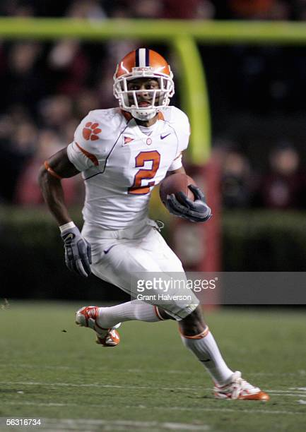 Chansi Stuckey of the Clemson Tigers carries the ball during the game with the South Carolina Gamecocks on November 19 at WilliamsBrice Stadium in...