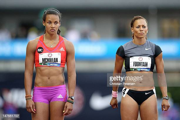 Chantae McMillan and Hyleas Fountain line up a the start of the Heptathlon 800 Meter Run on day nine of the US Olympic Track Field Team Trials at the...