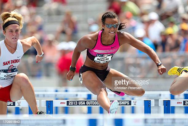 Chantae McMillan competes in the 100 Meter Hurdles portion of the Heptathlon on day one of the 2013 USA Outdoor Track Field Championships at Drake...