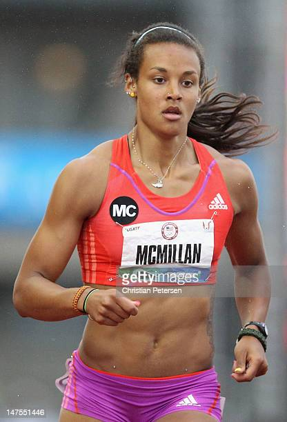 Chantae McMillan competes in the Heptathlon 800 Meter Run on day nine of the US Olympic Track Field Team Trials at the Hayward Field on June 30 2012...