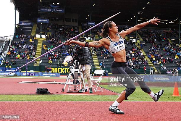 Chantae McMillan competes in the Women's Heptathlon Javelin Throw during the 2016 US Olympic Track Field Team Trials at Hayward Field on July 10 2016...