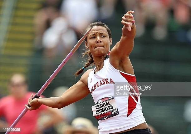 Chantae McMillan competes in the Women's javelin throw portion of the heptathlon on day four of the USA Outdoor Track Field Championships at the...
