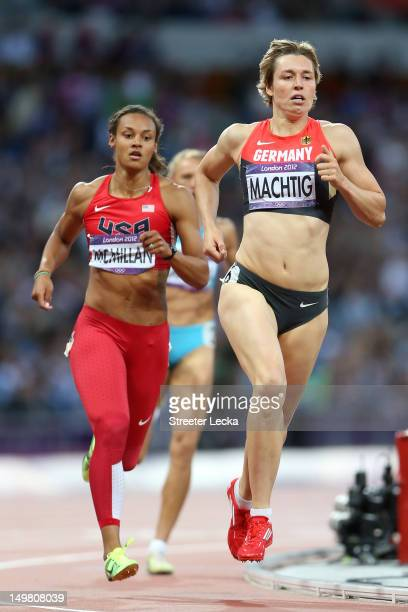 Chantae McMillan of the United States and Julia Machtig of Germany compete in the Women's Heptathlon 800m on Day 8 of the London 2012 Olympic Games...