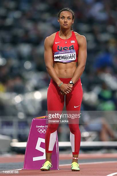 Chantae McMillan of the United States competes in the Women's Heptathlon 800m on Day 8 of the London 2012 Olympic Games at Olympic Stadium on August...