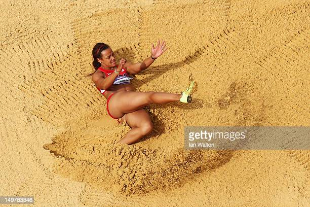 Chantae McMillan of the United States competes in the Women's Heptathlon Long Jump on Day 8 of the London 2012 Olympic Games at Olympic Stadium on...