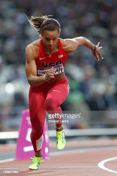Chantae McMillan of the United Statescompetes in the Women's Heptathlon 800m on Day 8 of the London 2012 Olympic Games at Olympic Stadium on August 4...