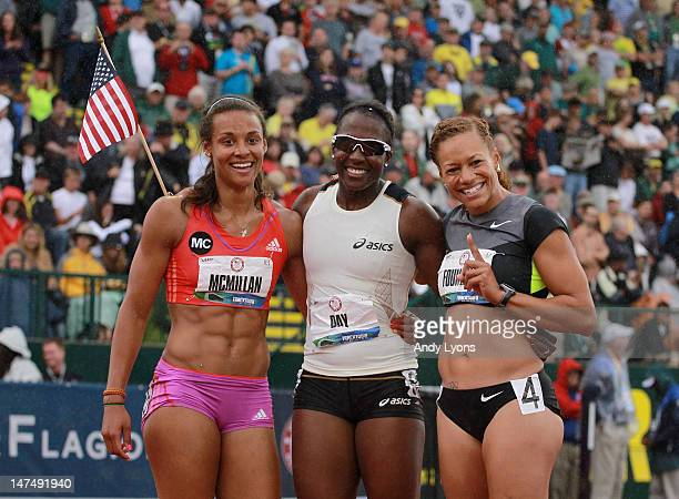 Chantae McMillan Sharon Day and Hyleas Fountain pose after the finish of the Heptathlon on Day 9 of the 2012 US Olympic Track Field Team Trials at...