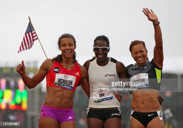 Chantae McMillan Sharon Day and Hyleas Fountain pose together after completing Heptathalon on day nine of the US Olympic Track Field Team Trials at...