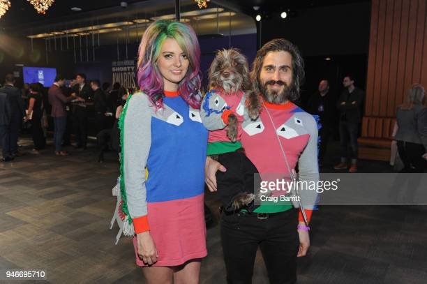 Chantal Adair Rosenberg the dog and Topher Brophy attend the 10th Annual Shorty Awards at PlayStation Theater on April 15 2018 in New York City
