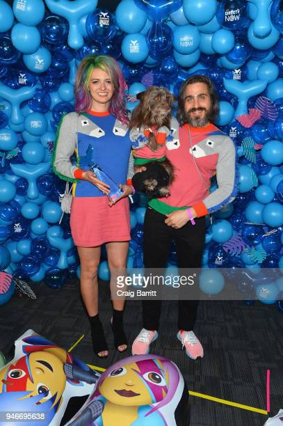 Chantal Adair Rosenberg the dog and Topher Brophy pose with the award for Instagrammer of the Year during the 10th Annual Shorty Awards at...