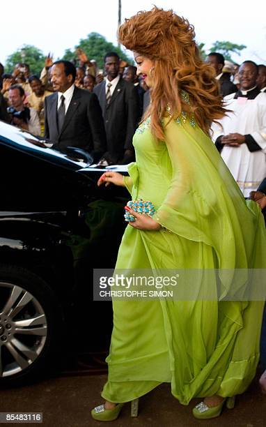 Chantal Biya Cameroonian President Paul Biya's wife leaves the church after the vespers service by Pope Benedict XVI at the Basilic Mineur Marie...