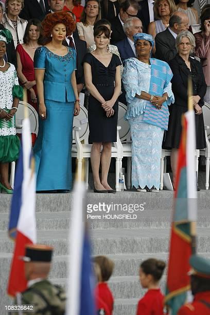 Chantal Biya Carla Sarkozy Chantal Compaore Penelope Fillon in Paris France on July 14th 2010