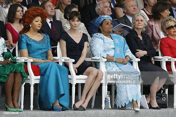 Chantal Biya Carla Sarkozy Chantal Compaore Penelope Fillon Viviane Wade in Paris France on July 14th 2010