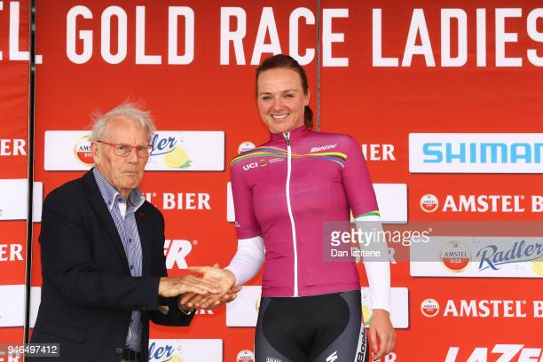 Chantal Blaak of The Netherlands and Team Boels Dolmans Cyclingteam Pink Leader Women's UCI World Tour Jersey / Celebration / Trophy / during the 5th...