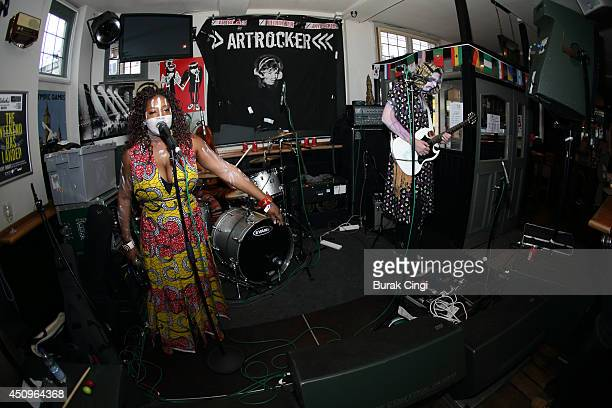 Chantal Brown and Oliver Martinez of Vodun perform on stage at Belushi's for Camden Crawl's CC14 on June 20 2014 in London United Kingdom