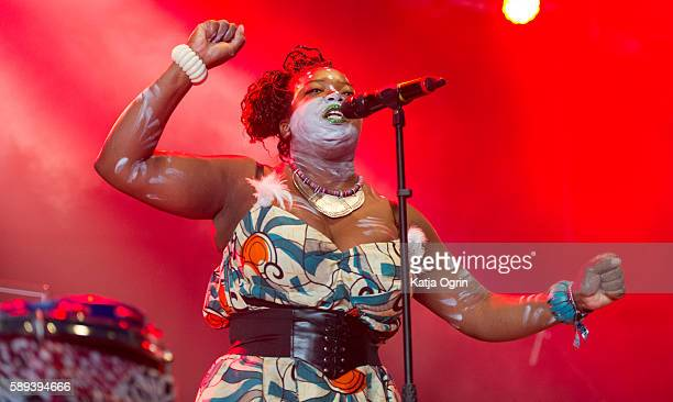 Chantal Brown of Vodun performing live on stage at Bloodstock Festival at Catton Park on August 13 2016 in Burton upon Trent England
