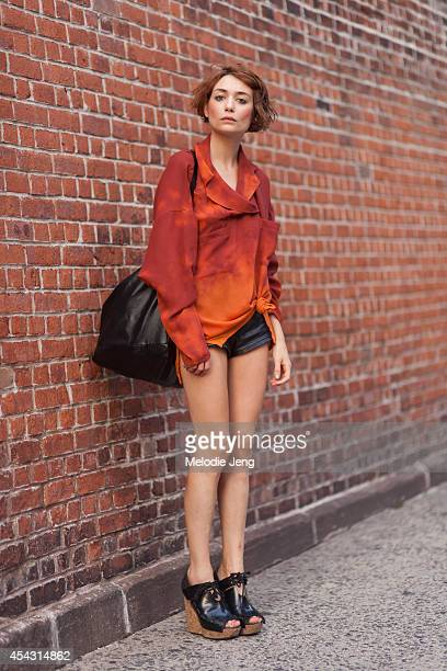 Chantal Chadwick End of Century Shop/Gallery owner wears a vintage top vintage Pucci shorts Acne shoes and Salvore bag in August 2012 in Soho New...