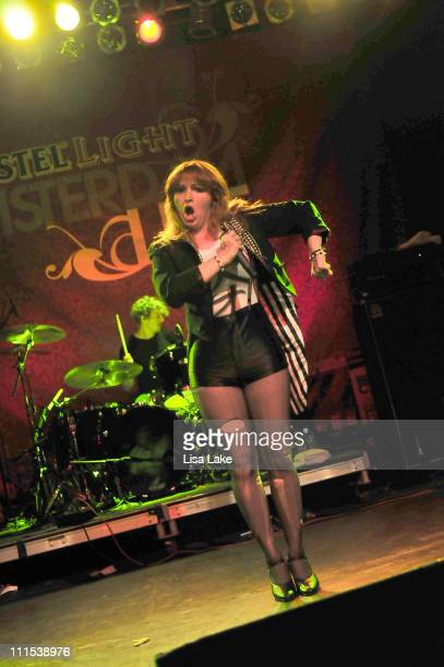 Chantal Claret of the band Morningwood performs at the Amstel Light Amsterdam Live event at The Theater of Living Arts on July 16 2009 in...