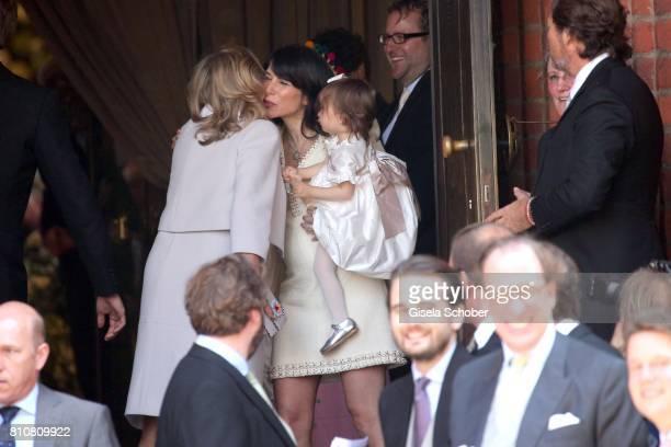 Chantal Hochuli mother of Ernst August jr of Hanover greets Caroline Sieber during the wedding of Prince Ernst August of Hanover jr Duke of...