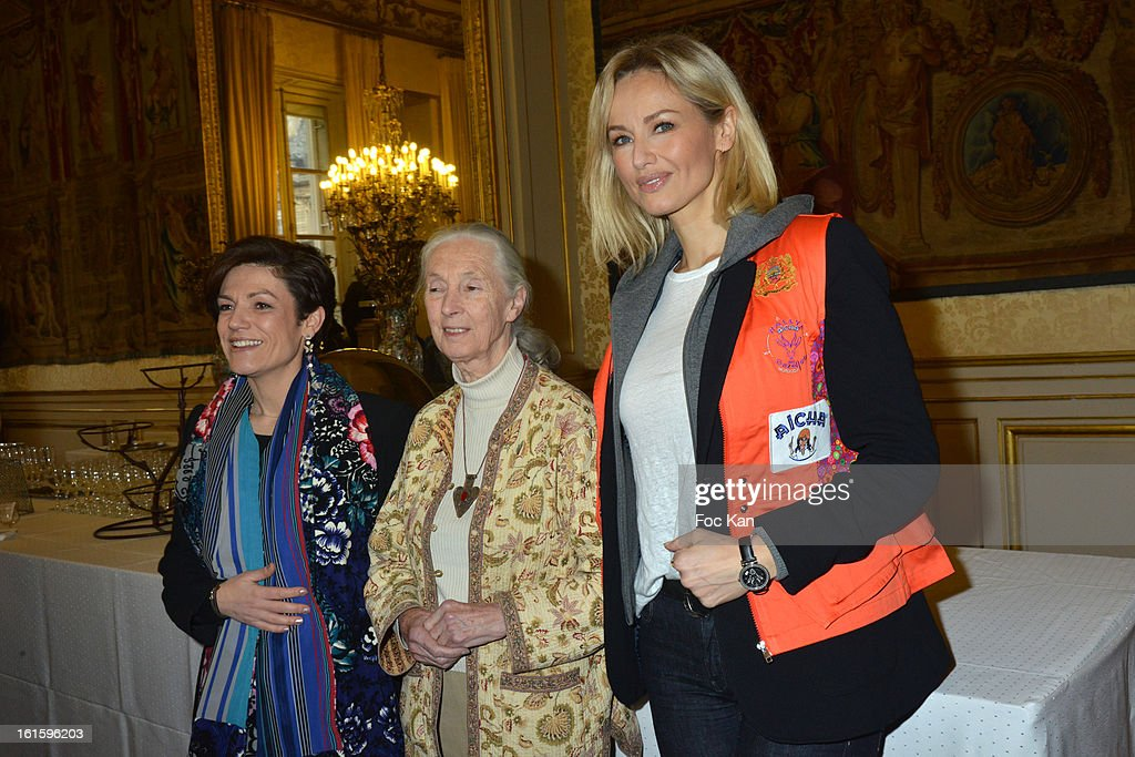 Chantal Jouanno, Jane Goodall and Adriana Karembeu attend the Rallye Aicha des Gazelles du Maroc' 2013 - Press Conference at Palais du Luxembourg on February 12, 2013 in Paris, France.