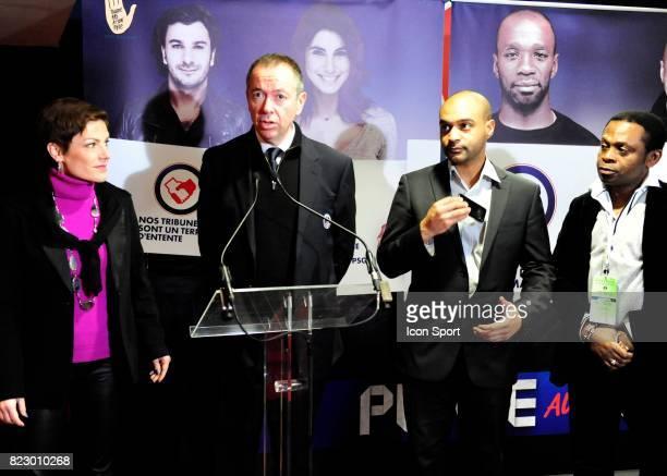 """Chantal JOUANNO / Robin LEPROUX / Dominique SOPO - President de SOS Racisme / Hermann EBONGUE - - Lancement de la """" Journee du Respect """" organisee..."""