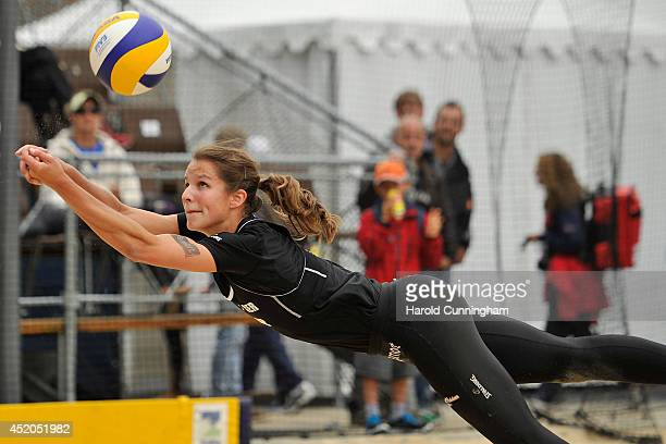 Chantal Laboureur of Germany digs during the women main draw match LaboureurSchumacher v FendrickSweat as part of the fourth day of the FIVB Gstaad...