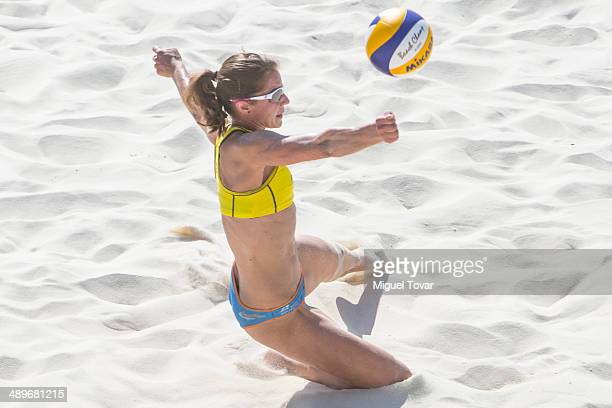 Chantal Laboureur of Germany dives for the ball during semifinal match of the 2014 FIVB Beach Volleyball World Tour on May 11 2014 in Puerto Vallarta...