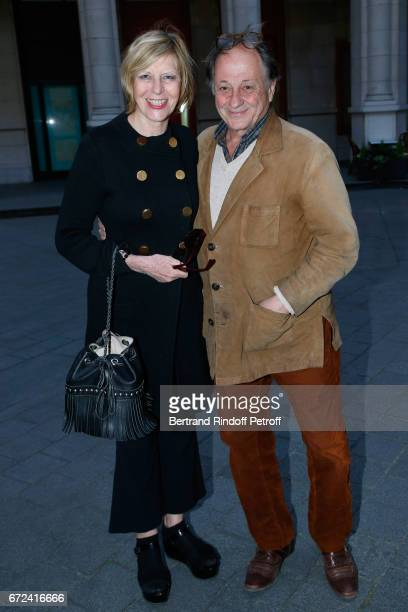 Chantal Ladesou and her husband Michel Ansault attend La Recompense Theater Play at Theatre Edouard VII on April 24 2017 in Paris France