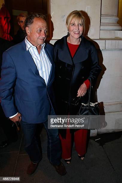 Chantal Ladesou and her husband Michel Ansault attend 'Le Mensonge' Theater Play Held at Theatre Edouard VII on September 14 2015 in Paris France