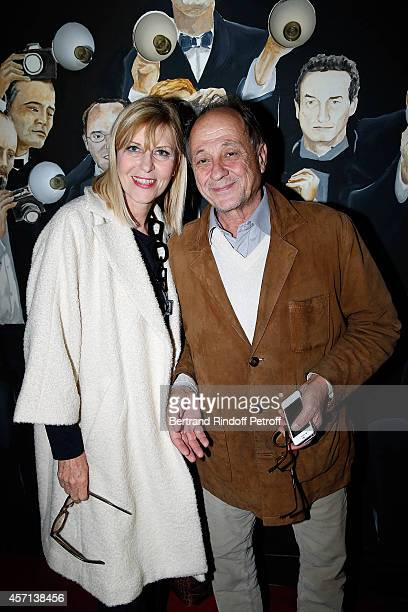 Chantal Ladesou and her Husband Michel Ansault attend the Line Renaud and Stromae waxwork unveiling at Musee Grevin on October 12 2014 in Paris France