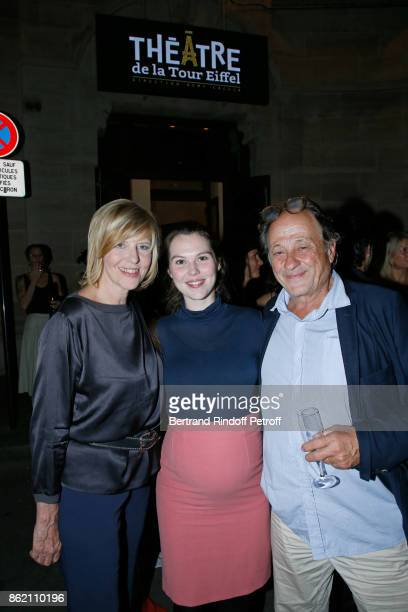 Chantal Ladesou her husband Michel Ansault and their daughter Clemence Ansault attend the One Woman Show by Christelle Chollet for the Inauguration...