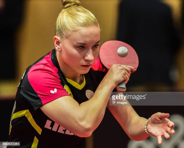 Chantal Mantz of Germany in action during the Table Tennis World Championship at Messe Duesseldorf on May 30, 2017 in Dusseldorf, Germany.