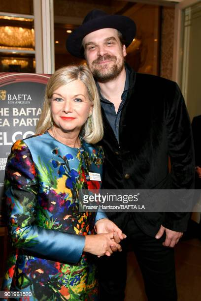 Chantal Rickards and David Harbour attends The BAFTA Los Angeles Tea Party at Four Seasons Hotel Los Angeles at Beverly Hills on January 6 2018 in...