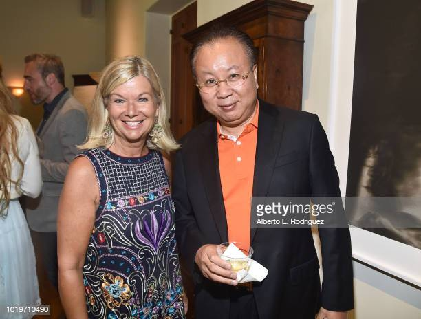 CEO Chantal Rickards and Dr Jimmy Jiang attend the BAFTALA Summer Garden Party at The British Residence on August 19 2018 in Los Angeles California