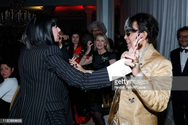 Chantal Thomass and Kenzo Takada dance during the 80th Kenzo Takada Birthday Party at Pavillon Ledoyen on February 28 2019 in Paris France