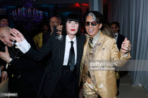 Chantal Thomass and Kenzo Takada dance during the 80th Kenzo Takada Birthday Party at Pavillon Ledoyen on February 28, 2019 in Paris, France.