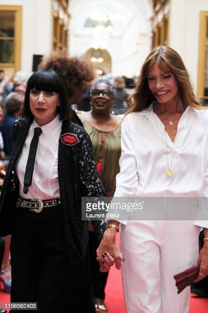 Chantal Thomass and Laurence Treil walk the runway during the Over Fiftyet Alors fashion show on June 17 2019 in Paris France