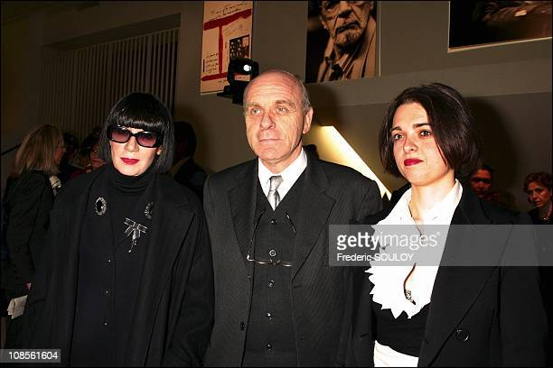 Chantal Thomass with daughter and a friend in Paris France on February 04th 2004