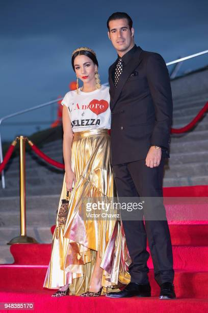 Chantal Torres and Miguel Torruco attend the Dolce Gabbana Alta Moda and Alta Sartoria collections fashion show at Soumaya Museum on April 18 2018 in...